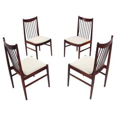 Set of Four Danish Mid Century Danish Modern Rosewood Spindle Back Dining Chairs