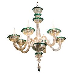 Clear Murano Glass Chandelier with Emerald Green Trim from Italy circa 1930