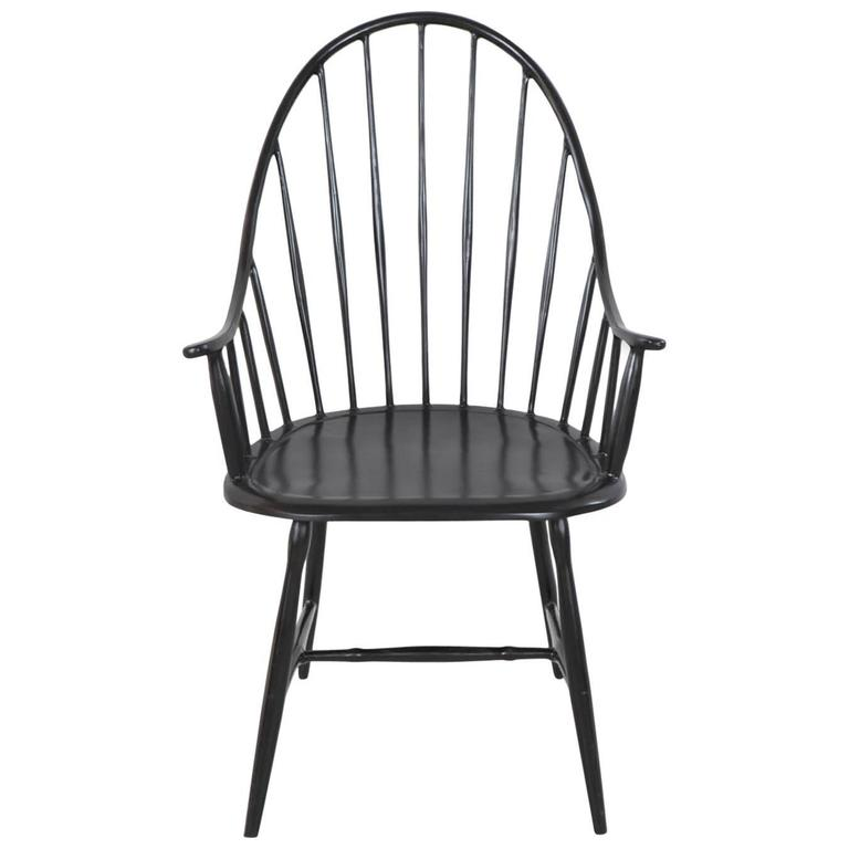 Powder Coated Black Metal Windsor Armchair 1