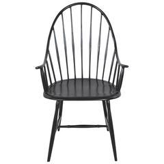 Powder Coated Black Metal Windsor Armchair