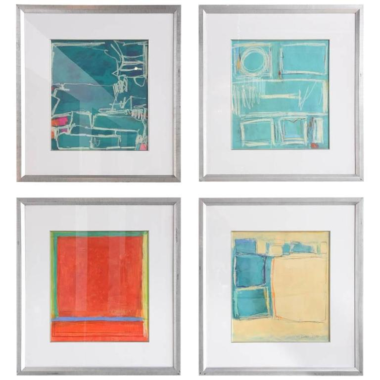 Group of four Abstract Oil, Acrylic and Crayon on Paper, Doreen Noar