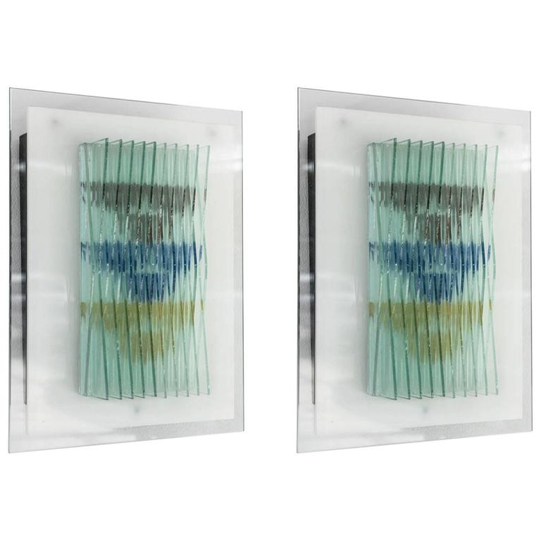 Pair of Italian Modern Glass and Painted Glass Wall Lights, Max Ingrand