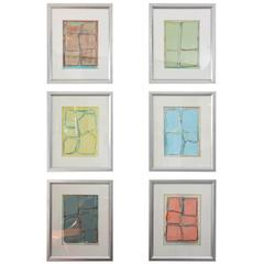 """Doreen Noar, Original Oil and Crayon on Paper, Set of Six, """"French Countryside"""""""
