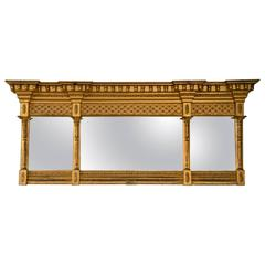 19th Century Neoclassical Gilt-Gesso and Wood Overmantel Mirror