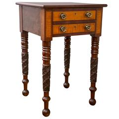 New England Federal Mahogany and Curly Maple Two-Drawer Work Table
