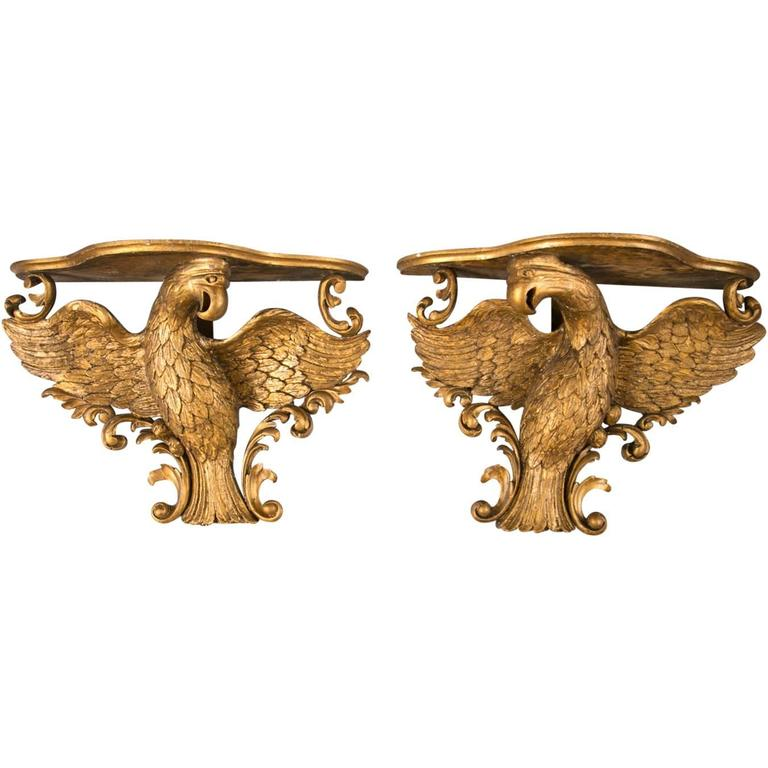 Pair of 19th Century Gilt-Gesso Eagle-Form Wall Brackets