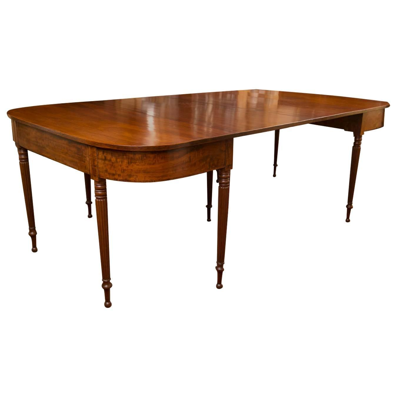 Early 19th Century New England Sheraton Mahogany Two Part Dining Table For Sa