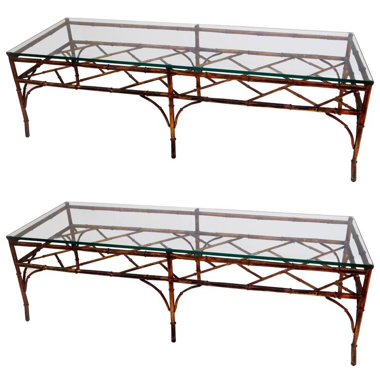 Italian Gold Gilt Iron And Glass Faux Bamboo Metal Square: Hollywood Regency Faux Bamboo Gold Gilt Metal Rectangular
