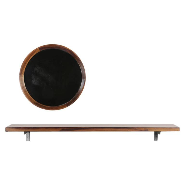 Brazilian Modern Wall-Mounted Shelf and Round Mirror by Sergio Rodrigues