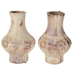 "Pair of Chinese Han Dynasty Glazed Earthenware ""Hu"" Jars"