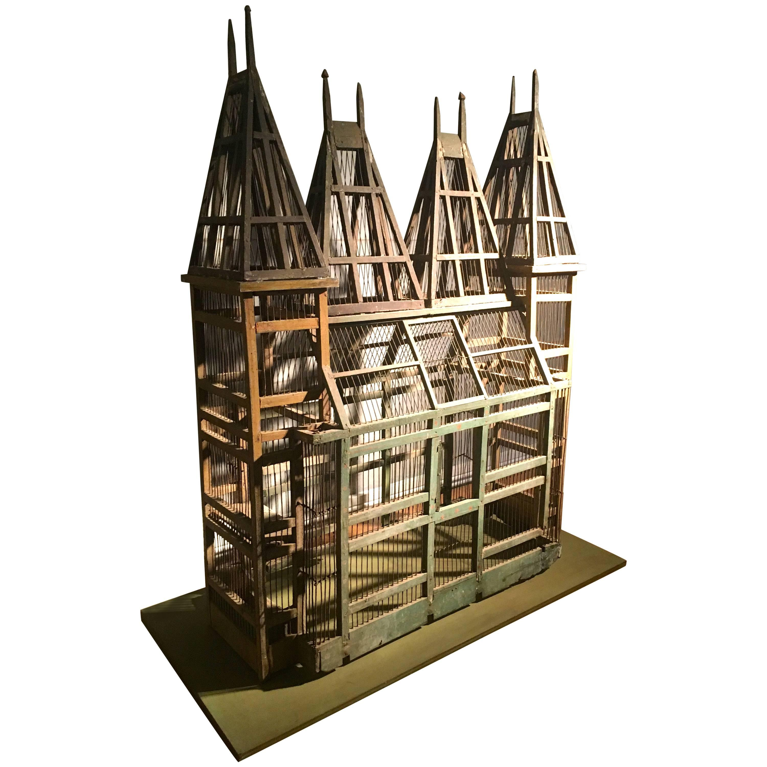 Large 19th Century French Wooden Chateau Birdcage