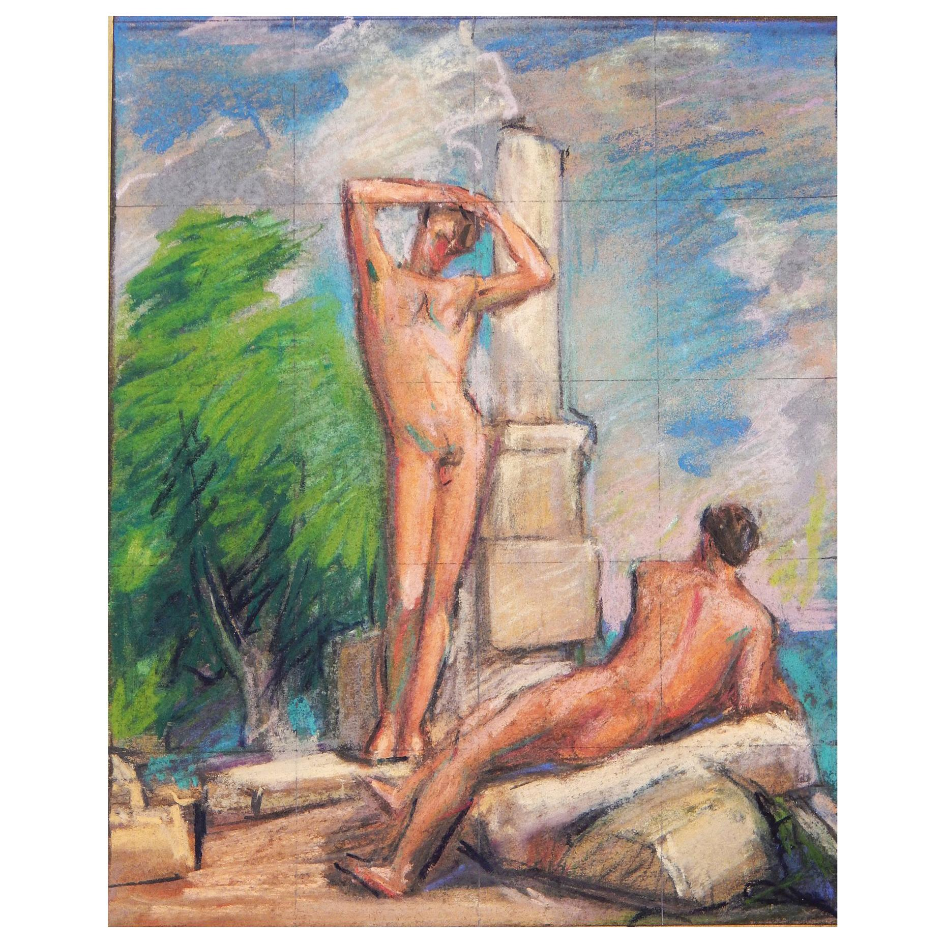 """""""Nudes Among the Ruins,"""" Vivid Mural Study with Male Nudes by Allyn Cox"""
