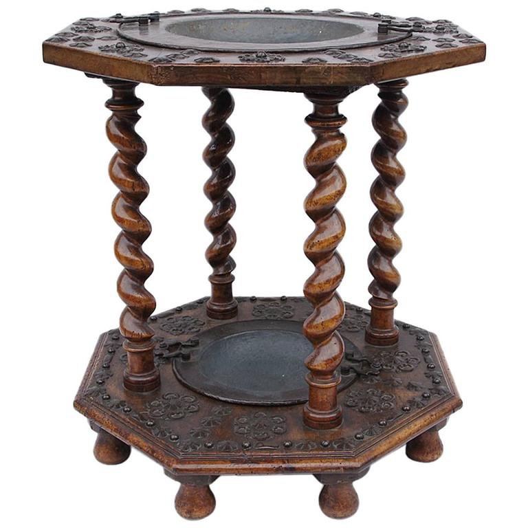 Rare 17th Century Spanish Walnut and Wrought Iron Brazier