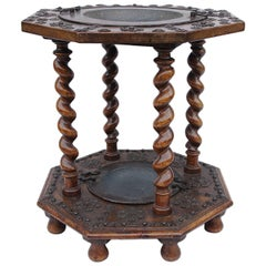 Spanish walnut and metal brazier, 17th century