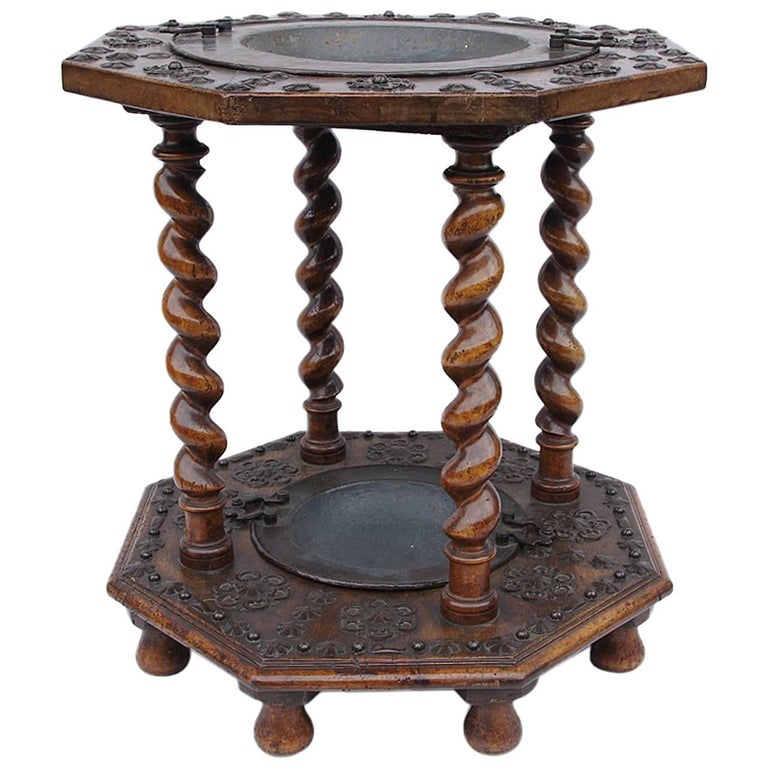 Spanish walnut and metal brazier, 17th century For Sale
