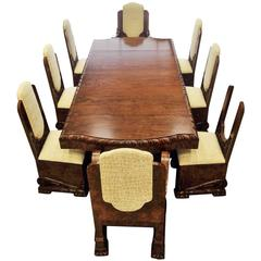 Important Art Deco Dining Table with Set of Chairs