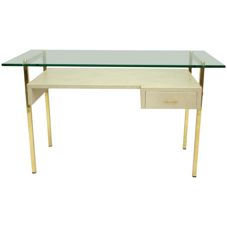 1970s Beige Leather Covered Desk with Glass Top