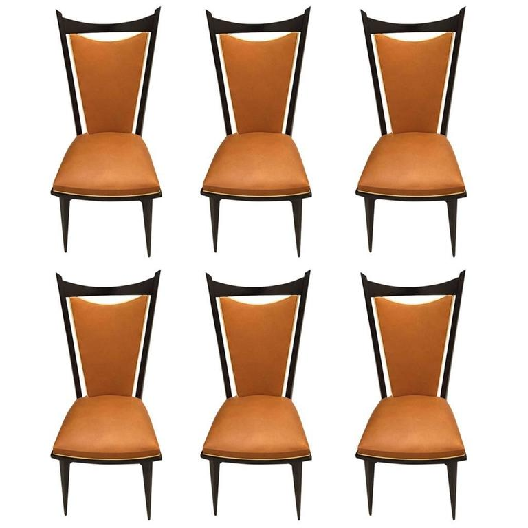 Set of Six French Art Deco Ebonized Dining Chairs, circa 1940s