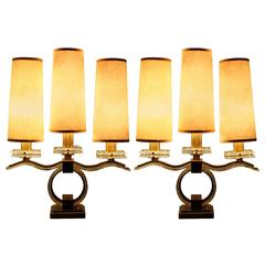 Spectacular Pair of Bronze and Glass Lamps by Sabino, 1945