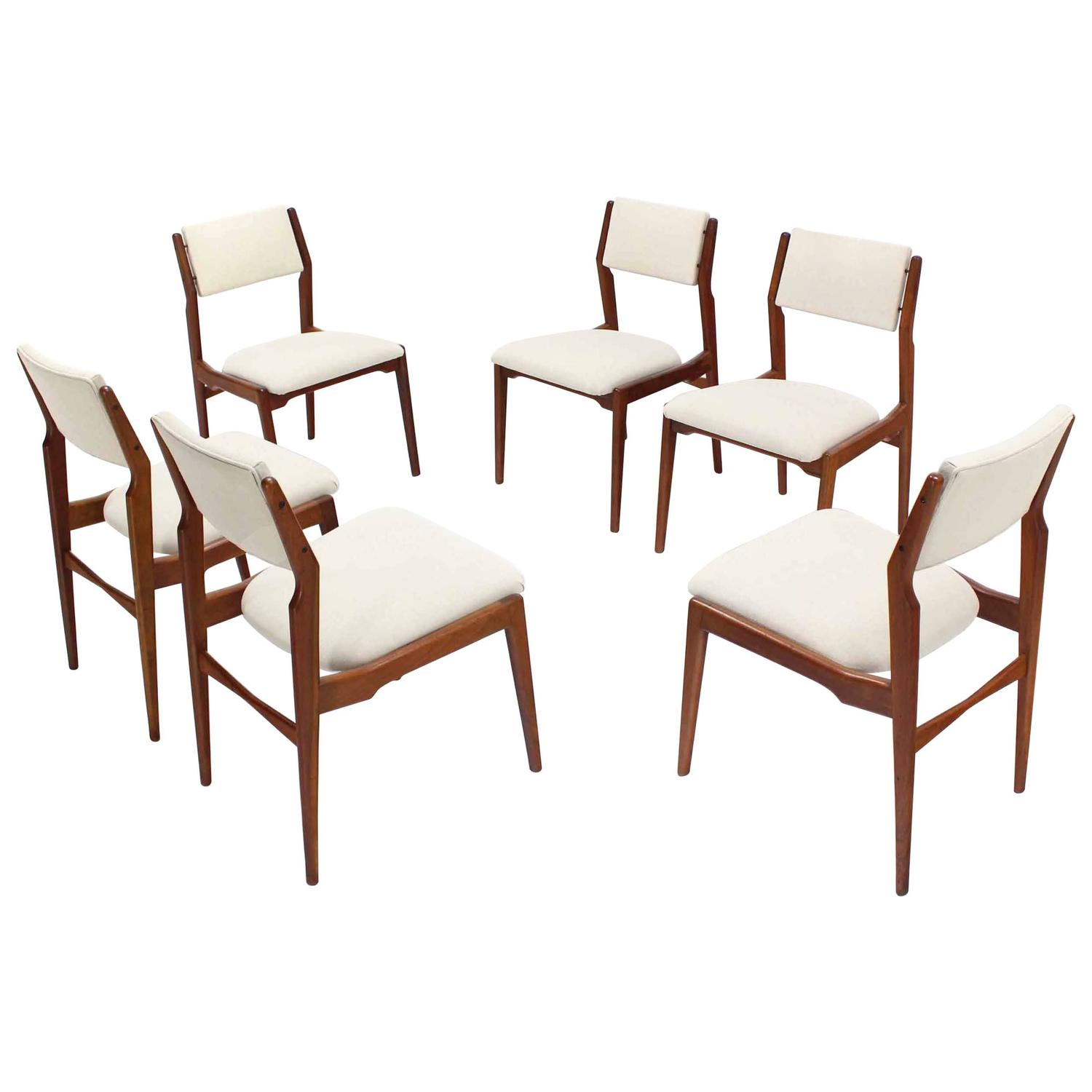 Set of six walnut danish mid century modern dining chairs for Walnut dining chairs modern