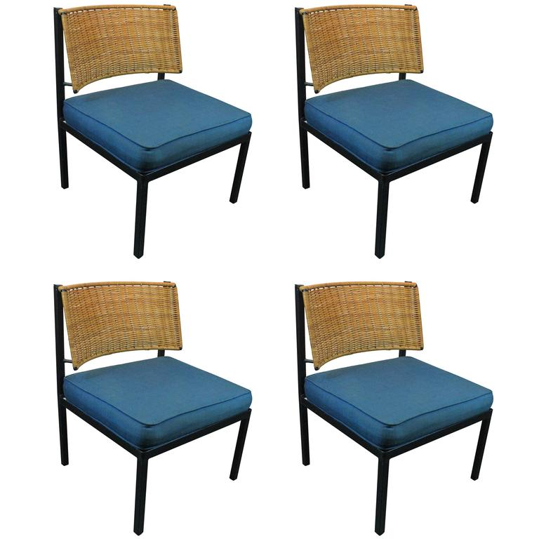 Mid Century Modern Iron And Rattan Lounge Chairs At 1stdibs