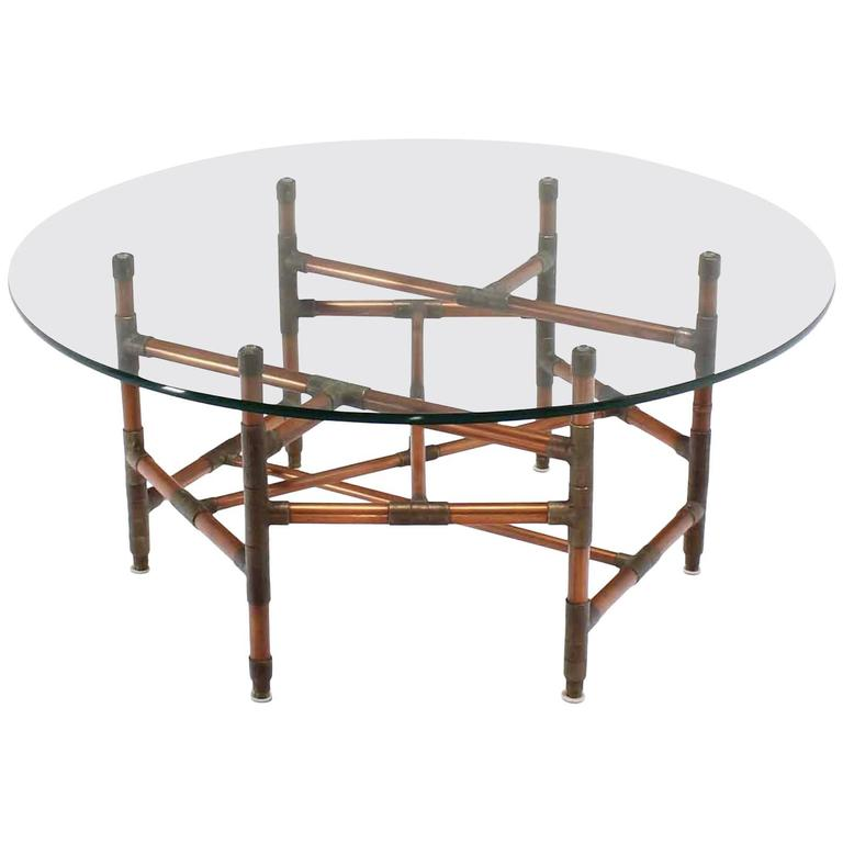Copper Pipe And Fitting Sculpture Base Round Glass Top Coffee Table 1