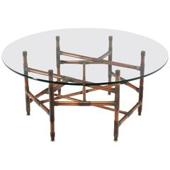Copper Pipe and Fitting Sculpture Base Round Glass Top Coffee Table