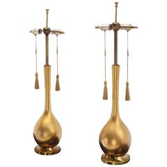 Pair of Vintage Gold Finish Table Lamps