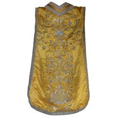 Silver Thread Embroidered Yellow Silk Chasuble Cape