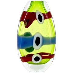 Olivier Mallemouche Colorful Green Glass Vase with Red and Blue Murrine