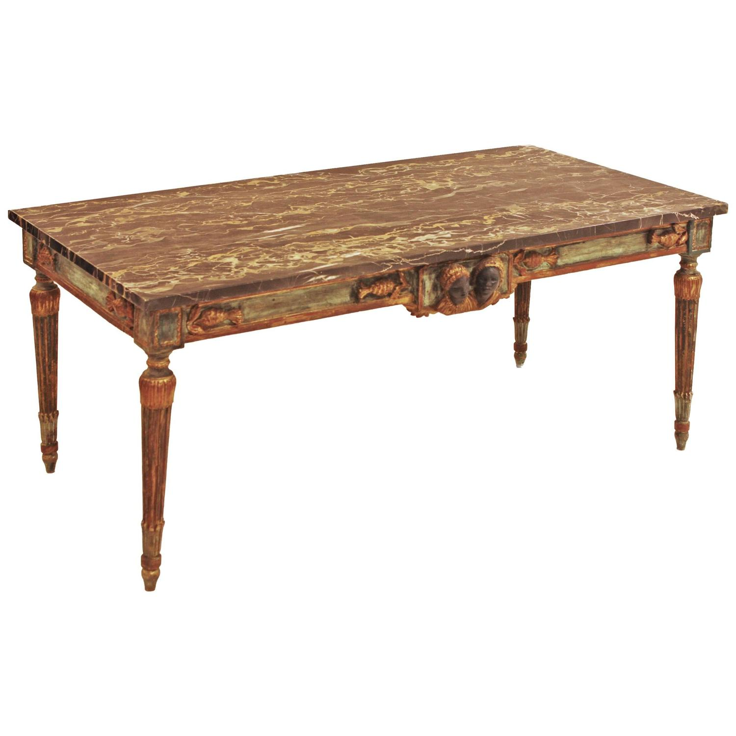 Marble Topped Gilt Coffee Table C 1920: French Painted And Parcel Gilt Neoclassical Style Marble