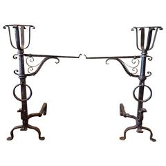 Pair of Gothic Wrought Iron Andirons in the Style of Samuel Yellin