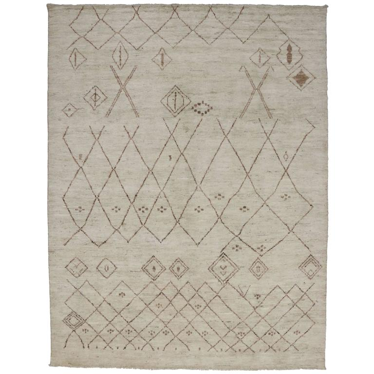 Maroc Tribal Rug: Contemporary Moroccan Style Area Rug With Tribal Symbols