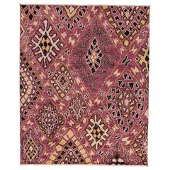 Contemporary Moroccan Style Area Rug with Abstract Symbols