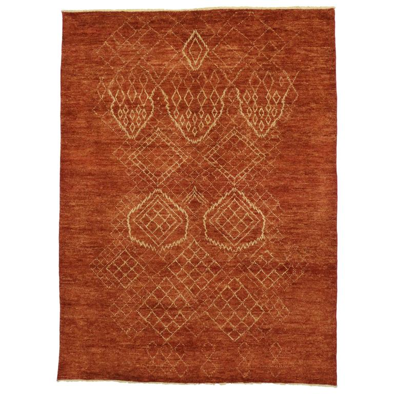 Contemporary moroccan style area rug with tribal design for Contemporary area rugs on sale