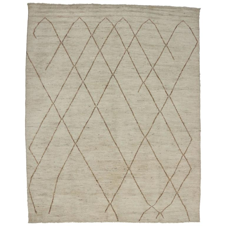 Contemporary Moroccan Area Rug With Modern Design For Sale