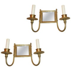 Square Gilt Metal Sconces with Mirror Back