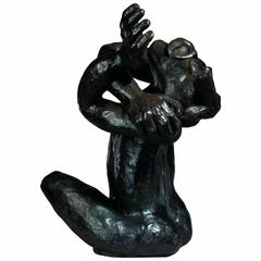 "Bronze Sculpture ""The Man With Two Right Hands"" by the Artist Jacques Tenenhaus"