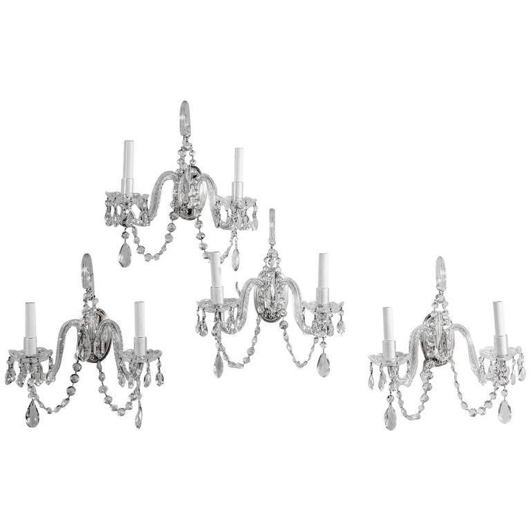 Set of Four French Crystal Sconces