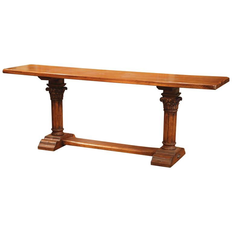 French Walnut Console Table with Two Hand-Carved Pedestal Legs and Stretcher