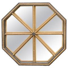 Octagonal Tramp Art Mirror Painted Black and Gold from the Mid 20th Century