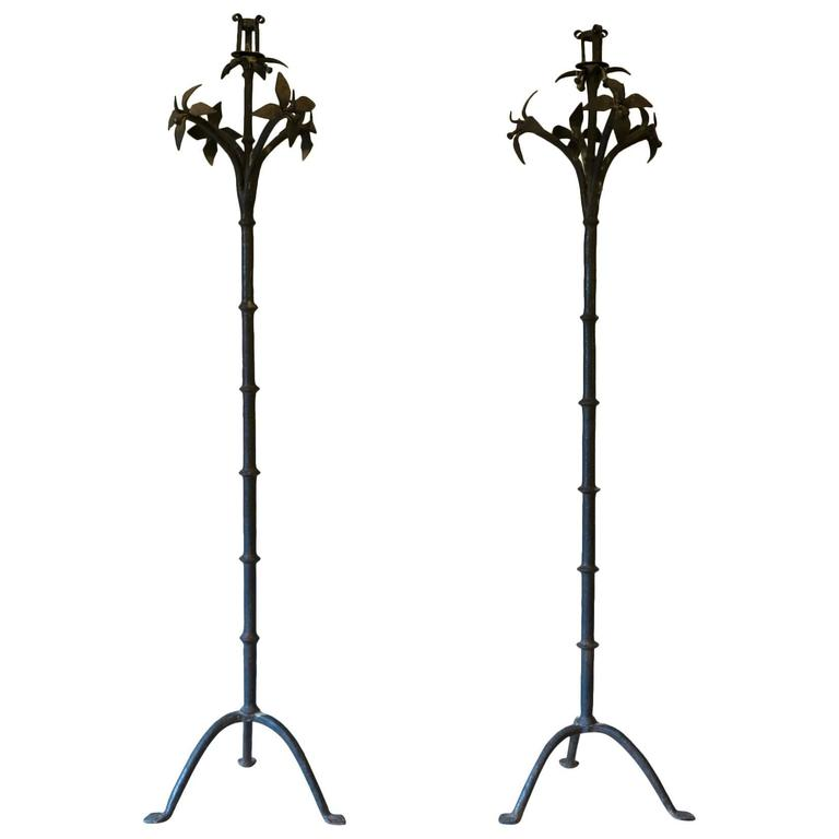 Tall Pair of Wrought Iron Candleholders, Early 19th Century
