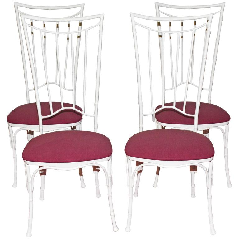 Four Painted Faux Bamboo Wrought Iron Chairs For Sale