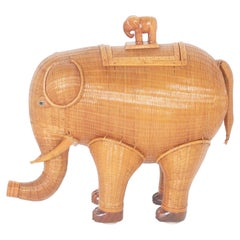 Adorable Midcentury Wicker Elephant Box