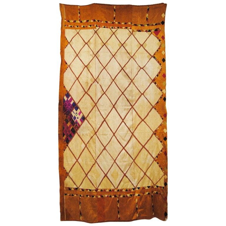 Silk Embroidered Chandi Phulkari Bagh Wedding Shawl from Punjab, India For Sale