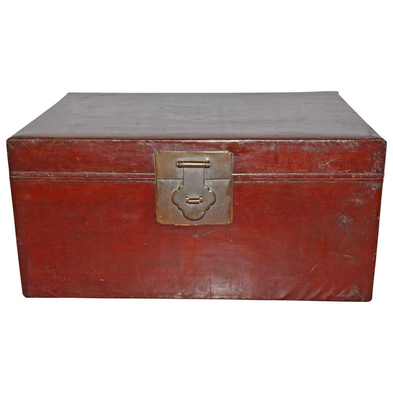 Large Antique Chinese Lacquered Trunk