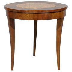 Italian Walnut Gueridon with Inset Marble Top, Early 19th Century