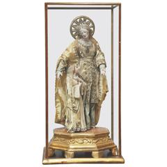18th Century Style Anne with Young Virgin Mary Carved Gesso Statue
