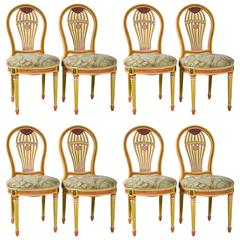 Set of Eight Paint Decorated Balloon Back Chairs