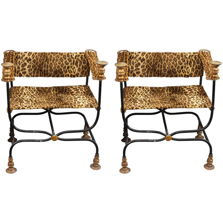 Pair of Campaign Chairs in Faux Leopard For Sale